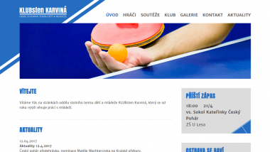 Klubové stránky oddílu stolního tenisu dětí a mládeže